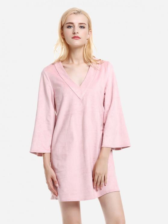 Vestido V Neck em camurça - Rosa S