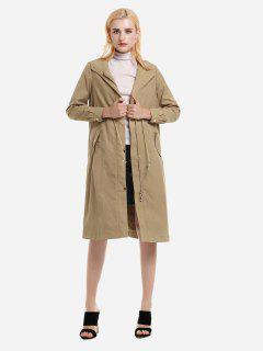 ZAN.STYLE Longline Silhouette Belted Hooded Trench Coat - Khaki M