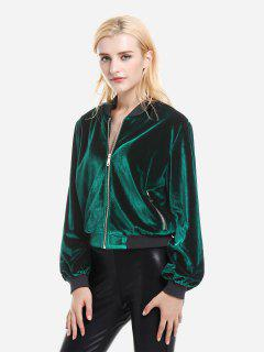 ZAN.STYLE Ribbed Trim Velvet Jacket - Blackish Green S