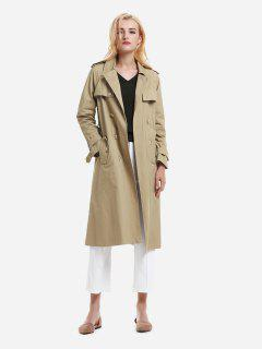 ZAN.STYLE Longline Silhouette Double Breasted Belted Trench Coat - Khaki L