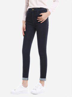 ZAN.STYLE Rolled Hem Skinny Jeans - Blue Xl