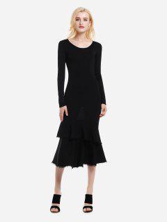 ZAN.STYLE Long Sleeve Slim Fit Sweater Dress - Black L