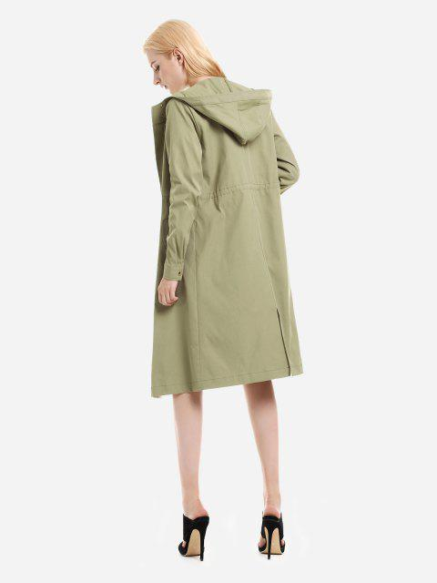 hot ZAN.STYLE Longline Silhouette Belted Hooded Trench Coat - LIGHT GREEN XL Mobile
