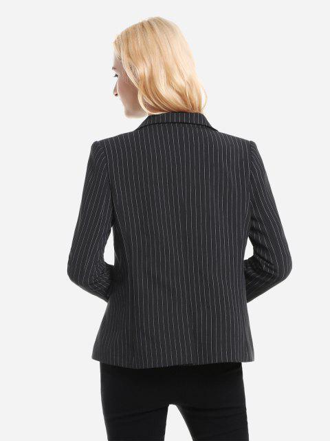 shop ZAN.STYLE Pinstripe Blazer - BLACK STRIPE XL Mobile