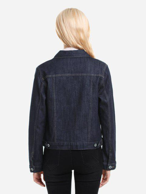 latest ZAN.STYLE Button Front Denim Jacket - DARK BLUE M Mobile