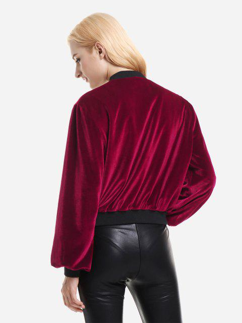 ZAN.STYLE Ribbed Trim Velvet Jacket - 酒紅色 S Mobile