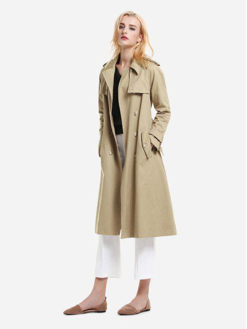 new ZAN.STYLE Longline Silhouette Double Breasted Belted Trench Coat - KHAKI S Mobile