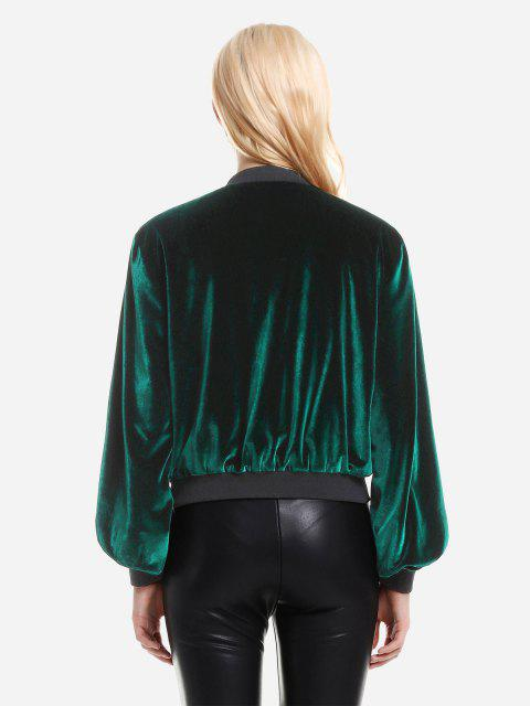 outfits ZAN.STYLE Ribbed Trim Velvet Jacket - BLACKISH GREEN S Mobile