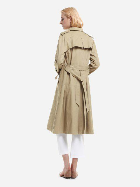 fashion ZAN.STYLE Longline Silhouette Double Breasted Belted Trench Coat - KHAKI M Mobile