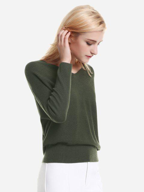 fashion ZAN.STYLE V Neck Dolman Sleeve Sweater Knitwear - GREEN L Mobile