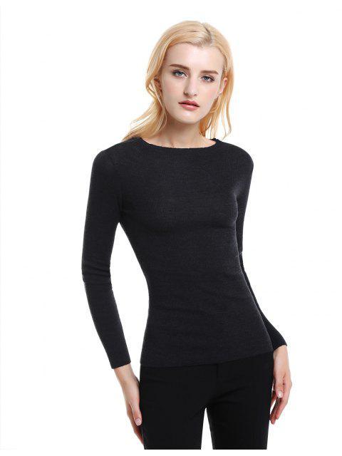 ZAN.STYLE Slim Fit Merino Wool Sweater - 黑色 S Mobile
