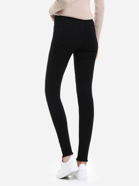 Pantalones vaqueros delgados del Knit del estiramiento - Negro XL Mobile
