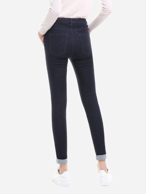 Rolled Hem Skinny Jeans - Blau S Mobile
