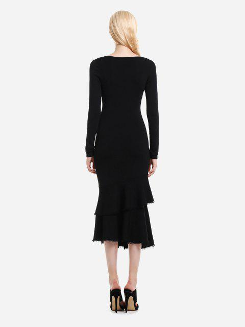 new ZAN.STYLE Long Sleeve Slim Fit Sweater Dress - BLACK M Mobile