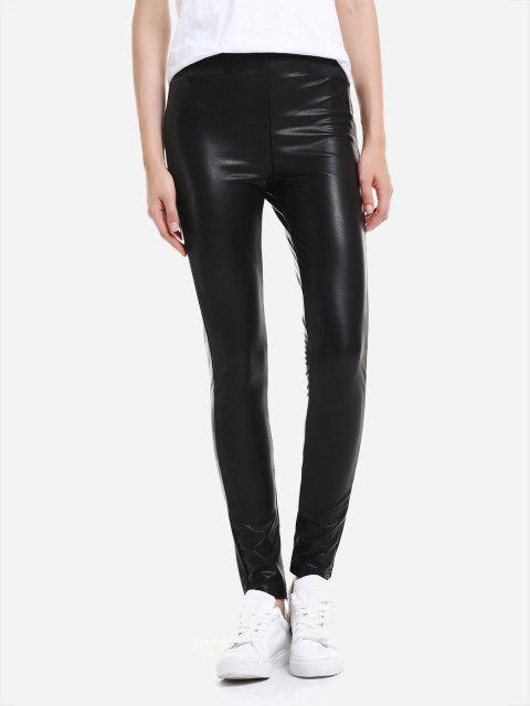 Leggings de cuero con cintura elástica - Negro M Mobile