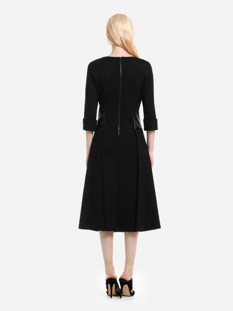 fancy ZAN.STYLE Below the Knee Long Sleeve Dress - BLACK L Mobile