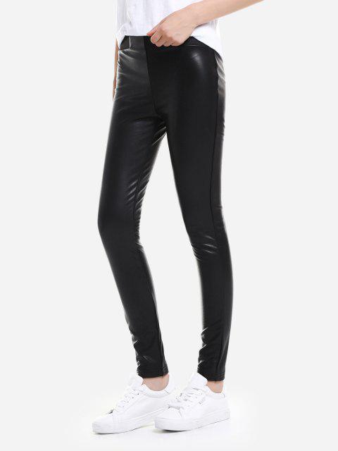 ZAN.STYLE Leather Leggings with Elasticized Waist - ブラック XL Mobile