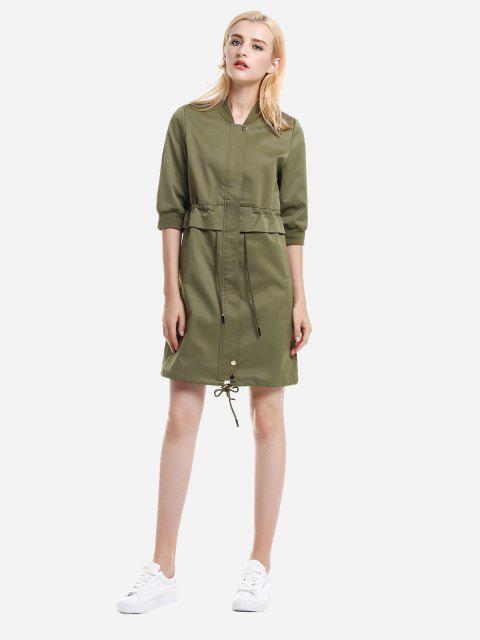 hot ZAN.STYLE Zipper Coat Dress - ARMY GREEN M Mobile