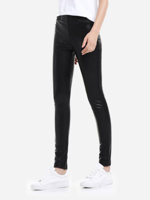 ZAN.STYLE Leather Leggings with Elasticized Waist - 黑色 2XL Mobile