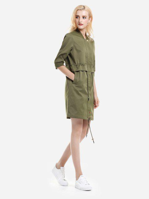 womens ZAN.STYLE Zipper Coat Dress - ARMY GREEN L Mobile