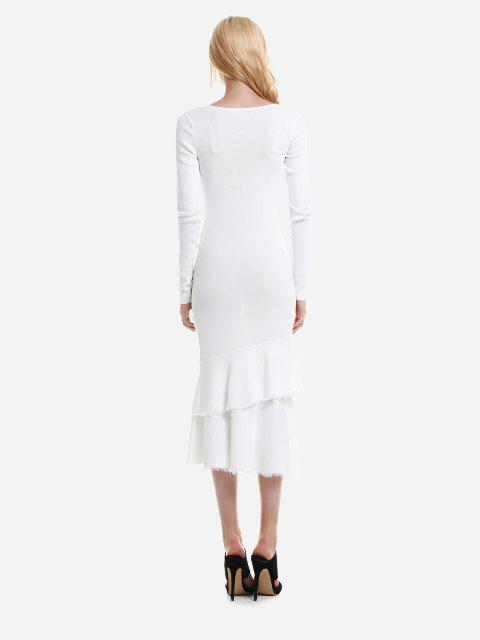 trendy ZAN.STYLE Long Sleeve Slim Fit Sweater Dress - WHITE M Mobile