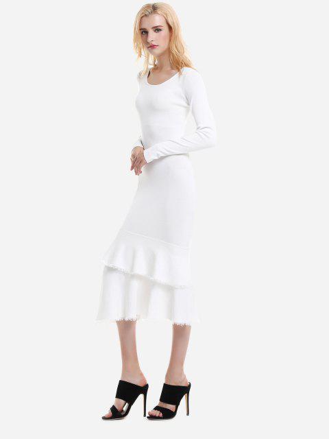 women's ZAN.STYLE Long Sleeve Slim Fit Sweater Dress - WHITE L Mobile
