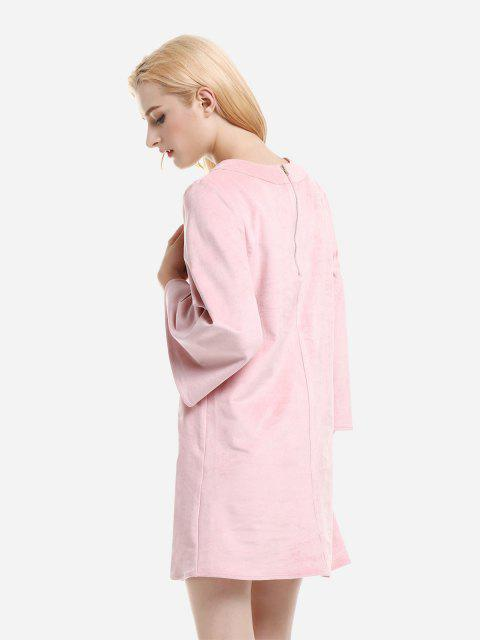 fashion ZAN.STYLE V Neck Suede Dress - PINK S Mobile