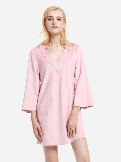 shop ZAN.STYLE V Neck Suede Dress - PINK M Mobile