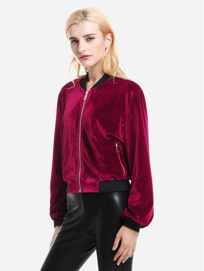 ZAN.STYLE Ribbed Trim Velvet Jacket - Wine Red Xl