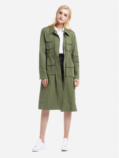 ZAN.STYLE Utility Trench Coat - Army Green M