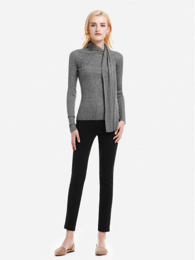 Shawl Neck Slim Fit Suéter Con Textura - Gris Del Brezo L