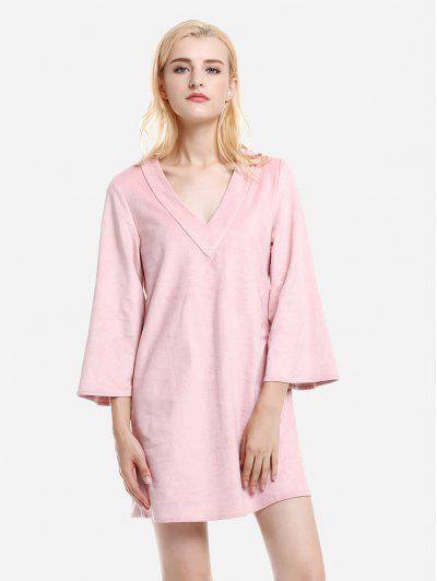 ZAN.STYLE V Neck Suede Dress - Pink L