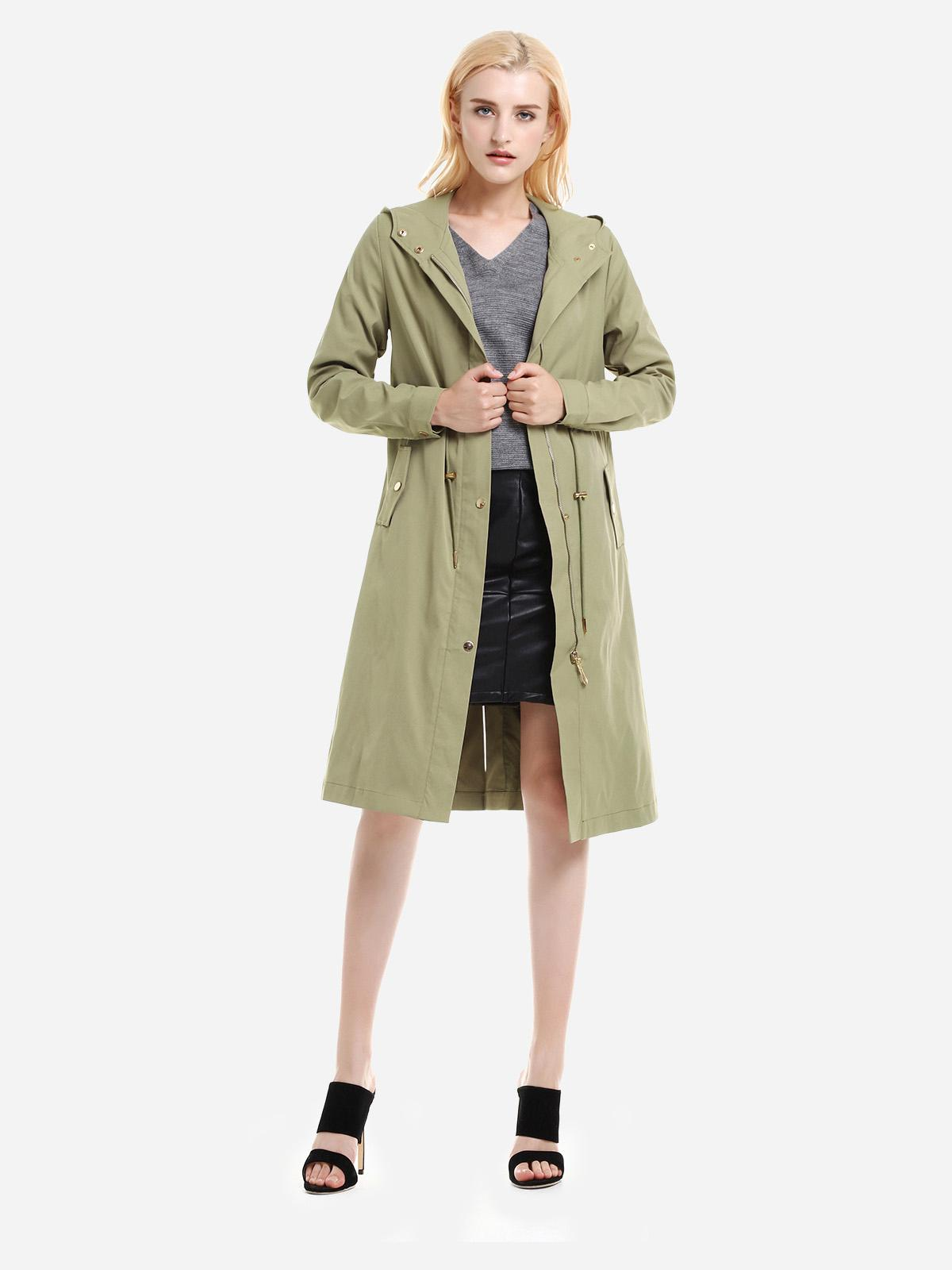 ZAN.STYLE Longline Silhouette Belted Hooded Trench Coat, Light green