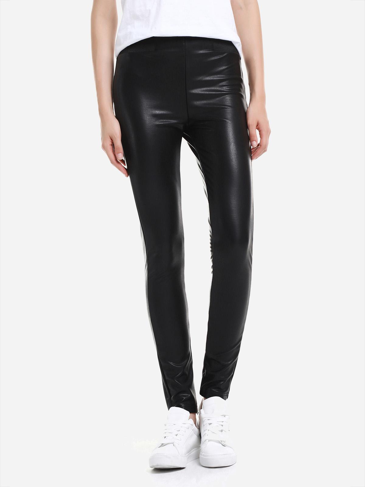 ZAN.STYLE Leather Leggings with Elasticized Waist