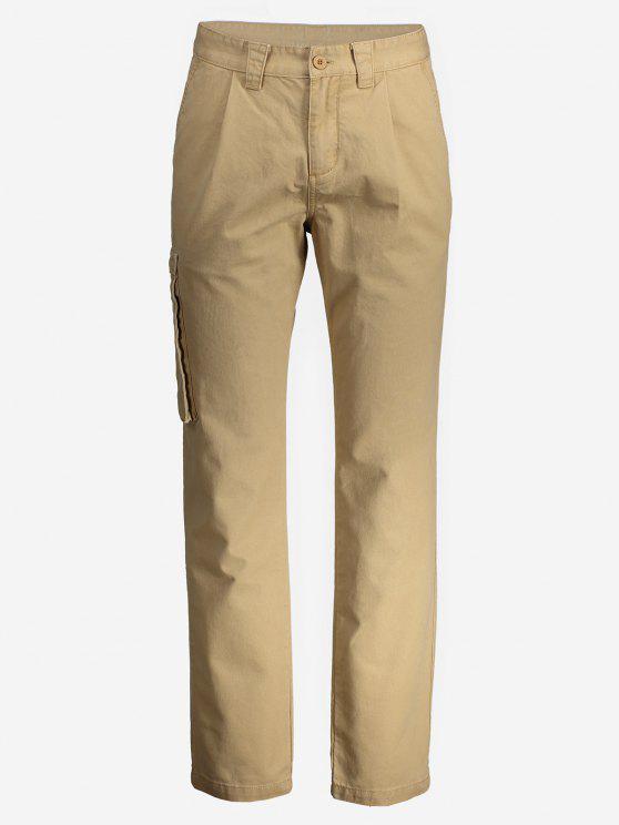 best ZANSTYLE Men Side Pocket Belted Pants - KHAKI 32