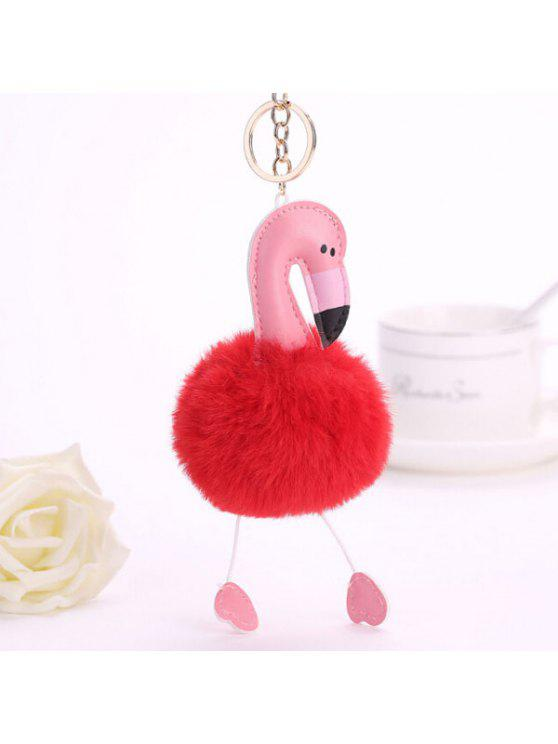 chic Lovely Cartoon Flamingo Style Hang Decoration for Key Chain / Bag - RED