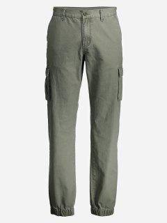 ZANSTYLE Men Slim Cargo Pants - Army Green 32