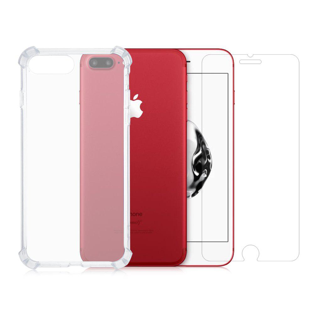Protective Kit for iPhone 7 Plus 8 Plus Phone Case Screen Protector TPU Soft Anti drop Cover Tempered Glass Film 230393401