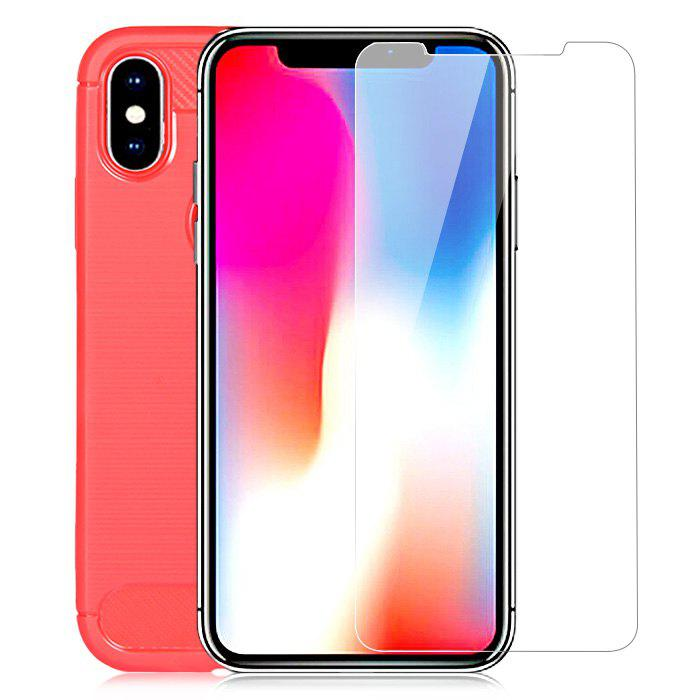 Protective Kit for iPhone X Phone Case Screen Protector TPU Soft Anti drop Cover Tempered Glass Film 230396301