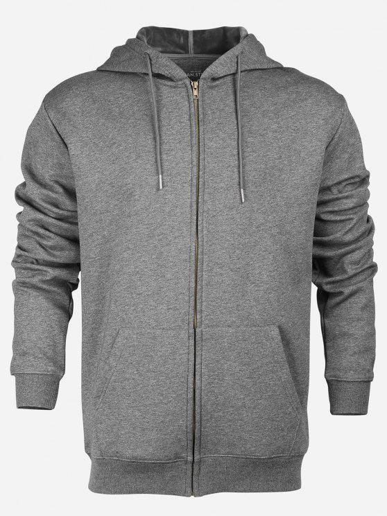 outfit ZAN.STYLE Zip Up Pocket Hooded Sweatshirt - DEEP GRAY M
