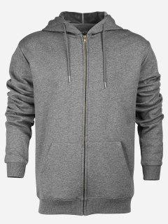 Zip Up Pocket Hooded Sweatshirt - Deep Gray M
