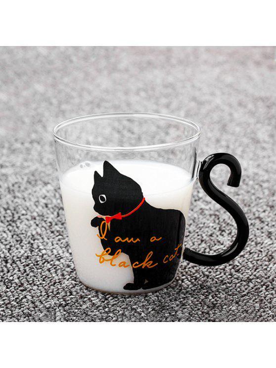 Tasse de Café Lait Thé en Verre avec Motif de Chat Mignon Mots Anglais 220ml pour Maison Bureau - Noir