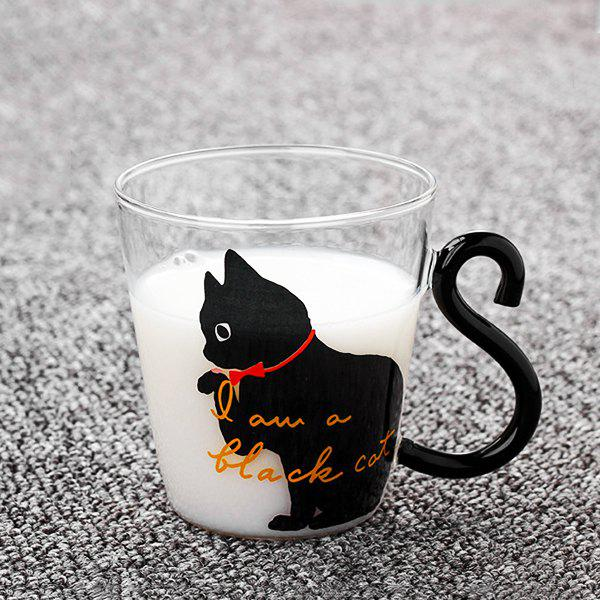 220ml Cute Cat Glass Mug Tea Milk Coffee Cup English Words for Home Office 236410302