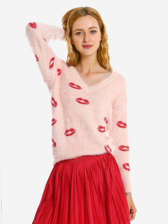 ZAN.STYLE cuello en V suéter suéter de las lanas - Rosa Desnudo S