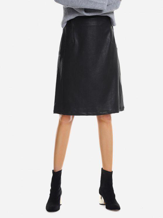 latest ZAN.STYLE Washed Leather Skirt - BLACK XL