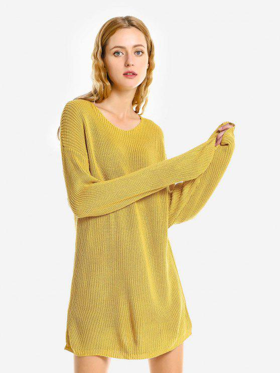 womens ZAN.STYLE Pullover Sweater Crew Neck - YELLOW ONE SIZE