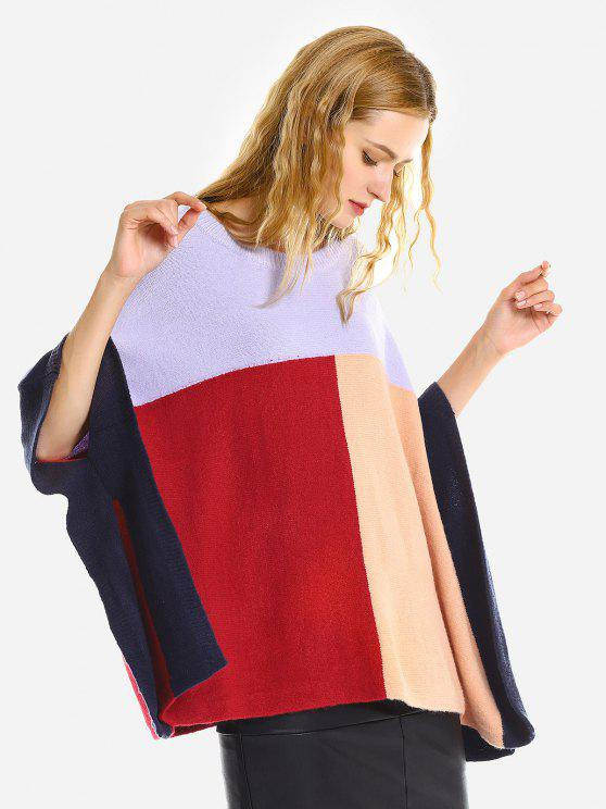 ladies ZAN.STYLE Loose Cape Sweater - COLORFUL ONE SIZE