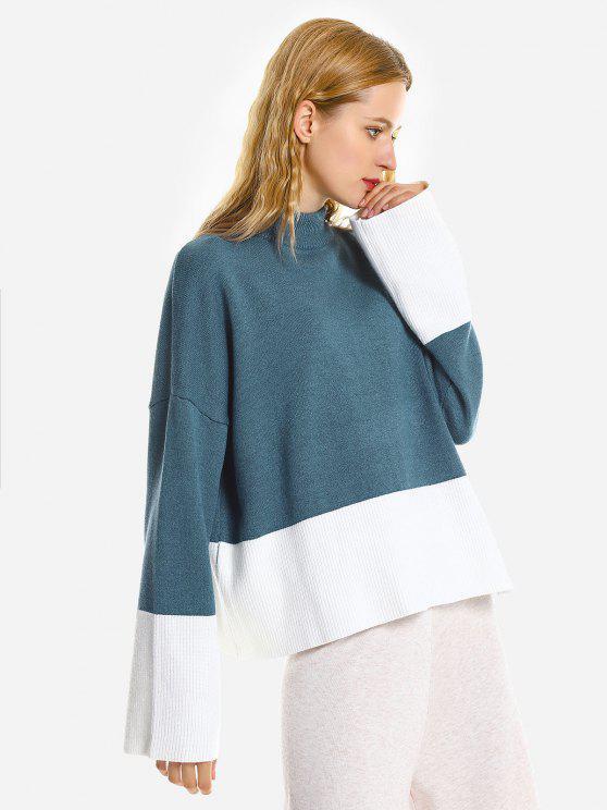 Camisola Desproporcional Rasgada Com Gargantilha Solta - Azul Um Tamanho