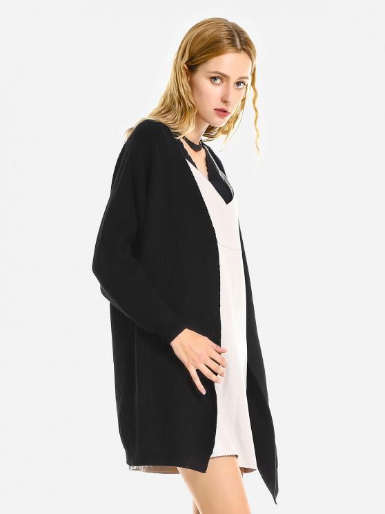 ladies ZAN.STYLE Loose Sweater Coat - BLACK