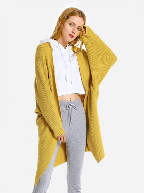womens ZAN.STYLE Loose Sweater Coat - YELLOW